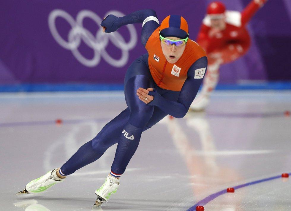 La velocista holandesa Jorian ter Mors, en un momento de la prueba de 500 metros de patinaje de velocidad, el 18 de febrero.