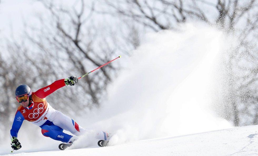Alexis Pinturault, de Francia, en la segunda ronda del gran slalom masculino disputado en el Centro Alpino de Yongpyong, el 18 de febrero.