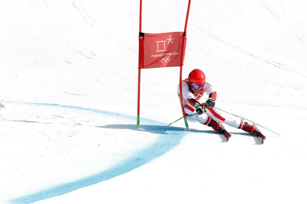 El ganador de la medalla de oro, Marcel Hirscher, de Austria, en la segunda ronda del slalom gigante, el 18 de febrero.