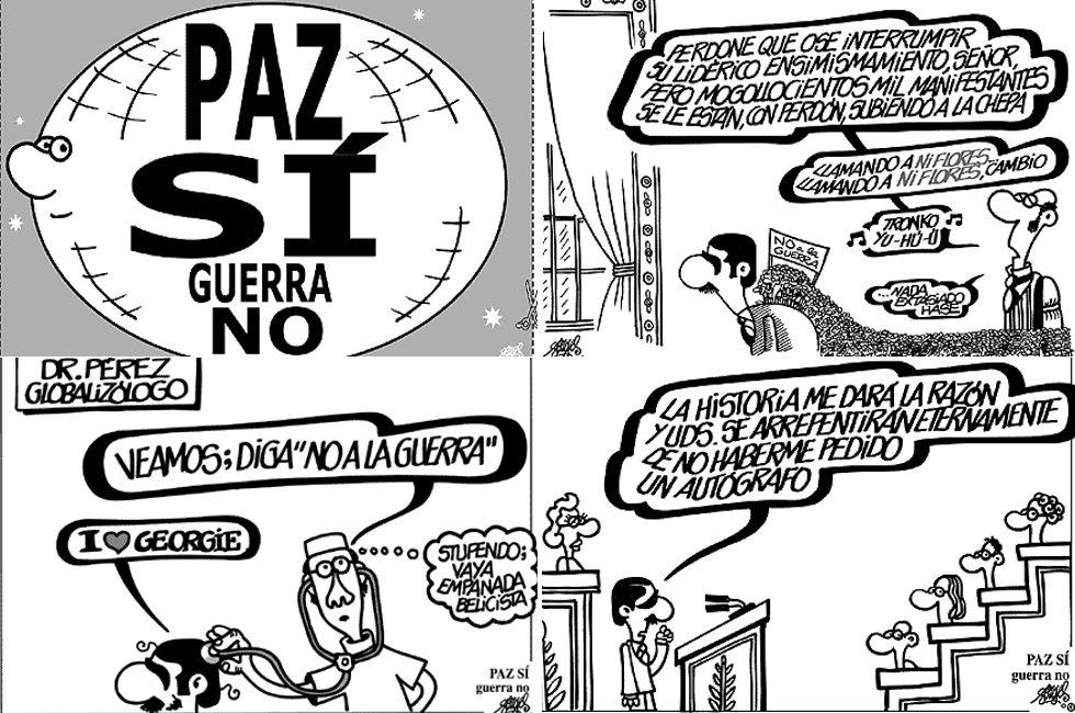 """El """"no a la guerra"""" ha sido una constante en las viñetas de Forges. El humorista gráfico apoyó con sus dibujos el clamor contra la invasión estadounidense de Irak en 2003, apoyada por el Gobierno de José María Aznar."""