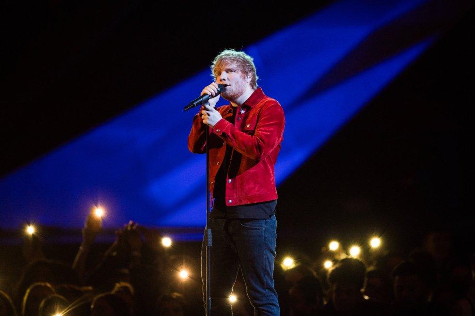 Actuación de Ed Sheeran en el O2 Arena, el 21 de febrero de 2018, en los 'Brit Awards' 2018.