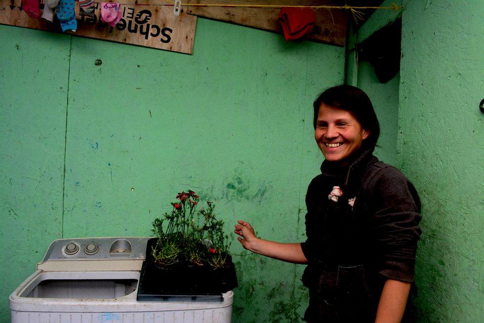 Jessica Hernández, de 28 años, vive en una chabola con sus cuatro hijos en Soacha, un municipio marginal del extrarradio de Bogotá.