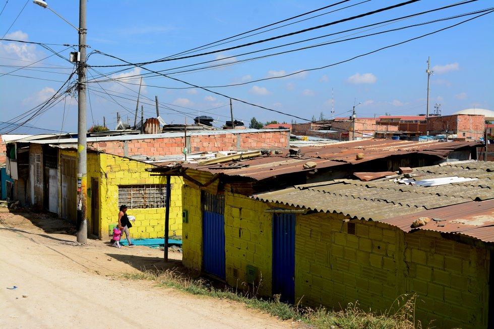Viviendas del barrio de Jessica, donde se ha convertido en una líder comunitaria.rn