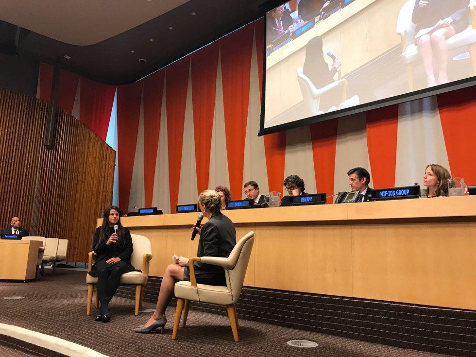Jessica, durante su comparecencia en la sede de las Naciones Unidas, el pasado lunes 5 de marzo.