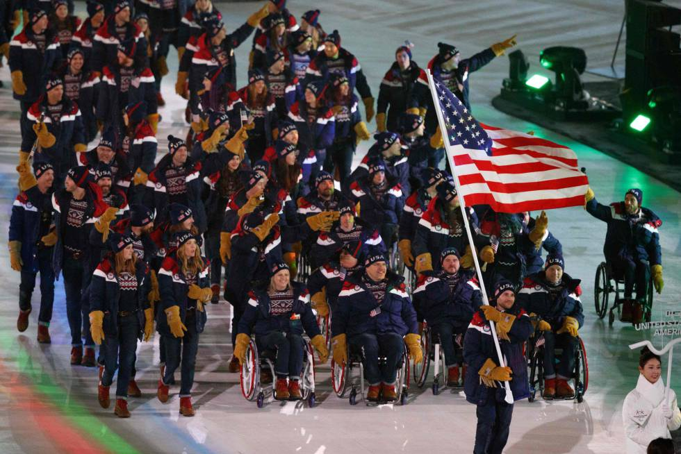 La delegación de Estados Unidos durante la ceremonia de apertura de los Juegos Paralímpicos de Pyeongchang 2018, el 9 de marzo de 2018.