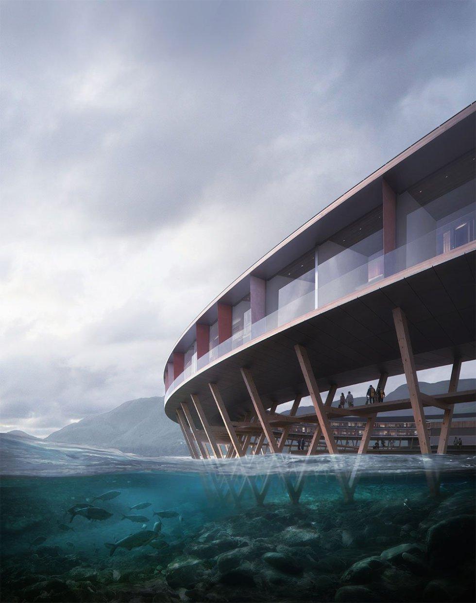 """El nombre del hotel significa """"negro"""" en noruego, en un homenaje al oscuro azul del glaciar, una masa de hielo de 370 kilómetros cuadrados; el segundo más grande en territorio noruego. El establecimiento estará ubicado en el municipio de Meløy, en el norte del país, y a sólo 20 metros sobre el nivel del mar."""