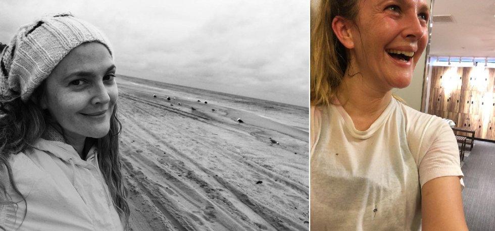 En las alfombras rojas luce peinados, maquillaje y estilismos seleccionados por profesionales de la industria de la belleza. Pero en su día a día, rara es la vez que Drew Barrymore se maquilla. La actriz comparte habitualmente 'selfies' de su rutina, incluso cuando va al gimnasio.