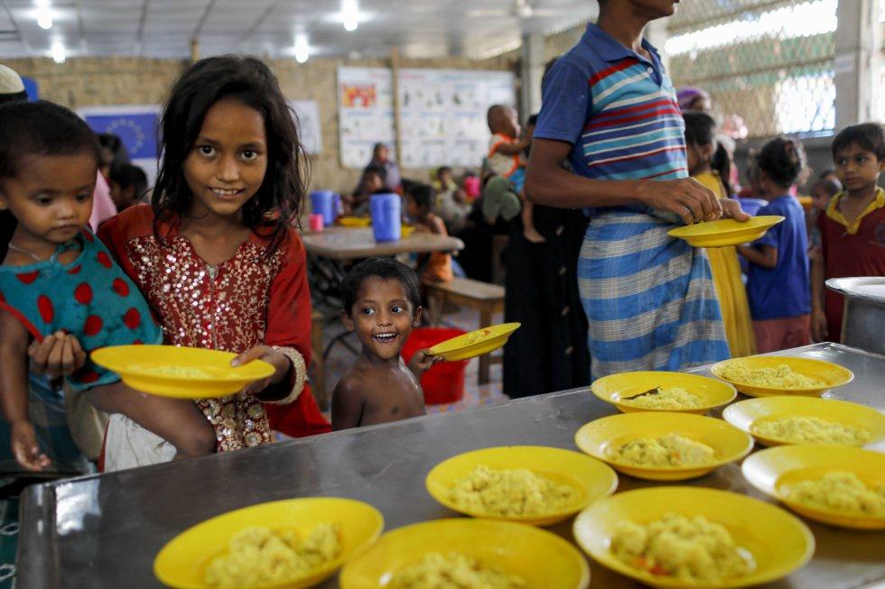 Uno de los comedores colectivos donde Acción contra el Hambre da de comer a 6.000 refugiados al día. Llegaron a alimentar a 60.000 diarios antes de que comenzara la distribución de alimentos.