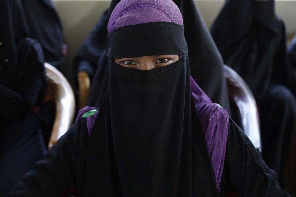 Una refugiada rohinyá en Bangladés.