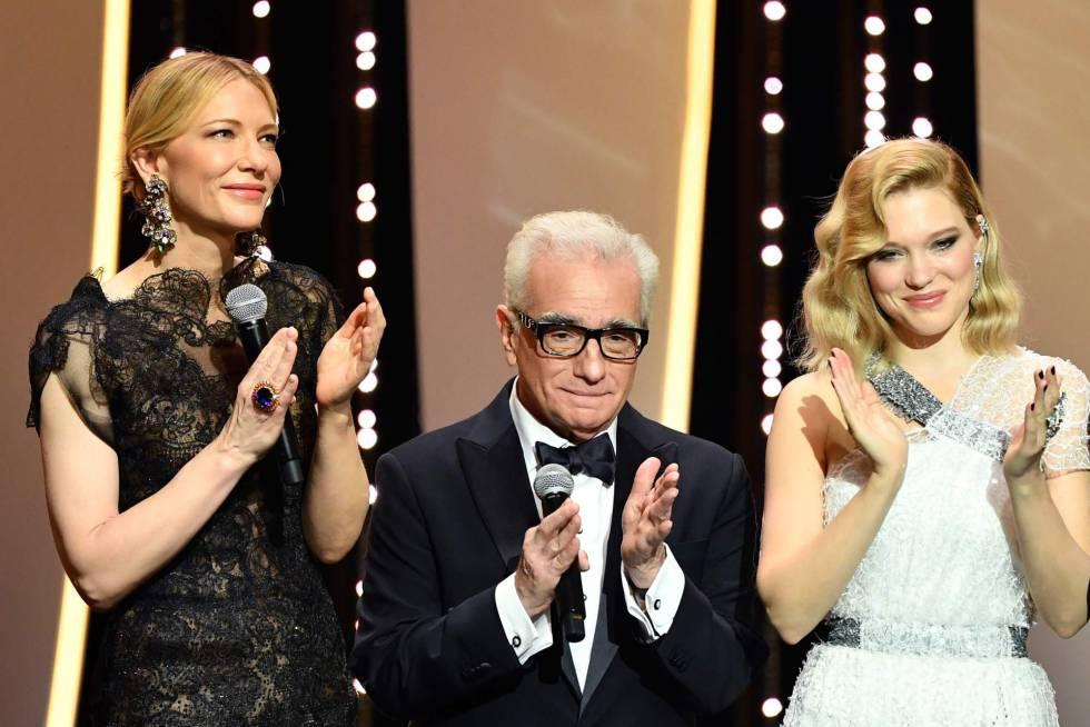 El director de cine Martin Scorsese acompañado de Cate Blanchett (izquierda) y Lea Seydoux, durante la ceremonia de apertura del Festival de Cannes, el 8 de mayo de 2018.