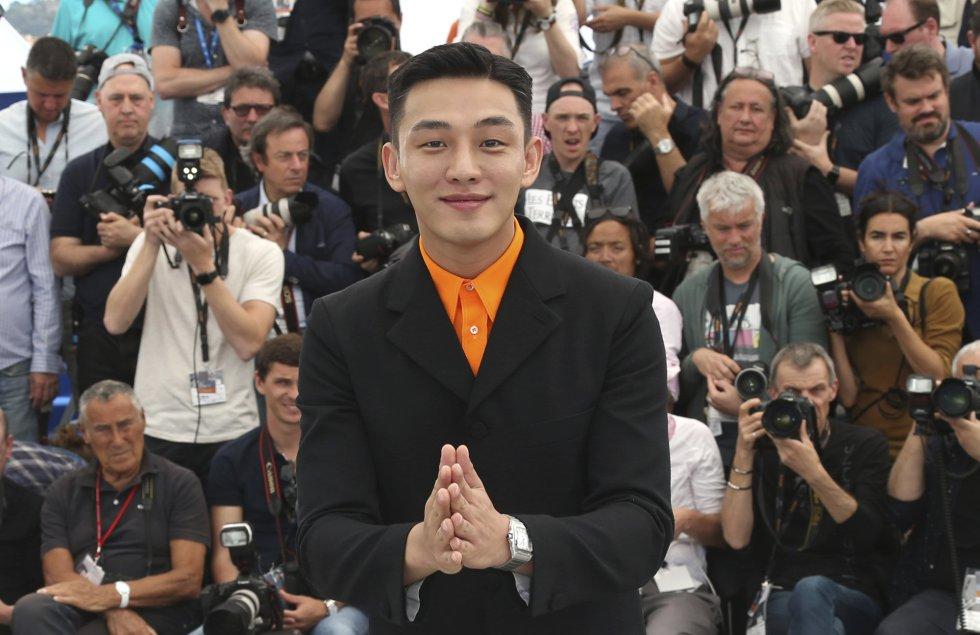 El actor surcoreano Yoo Ah-In posa durante la presentación de la película 'Burning' en la categoría oficial de la 71 edición del Festival de cine de Cannes (Francia), el 17 de mayo de 2018.