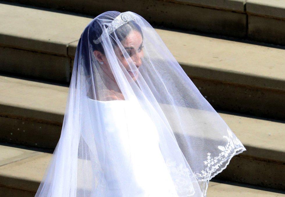 La novia Meghan Markle a su llegada a la capilla de San Jorge.