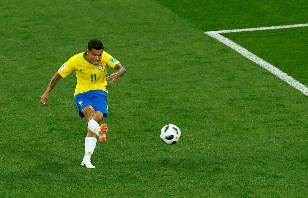 Coutinho marca en el primer gol de Brasil, en el campeonato del Mundo de Rusia