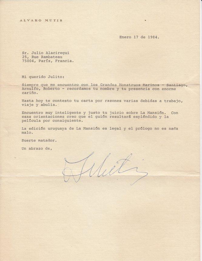 Carta mecanografiada del escritor colombiano Álvaro Mutis dirigida a su colega Julio Olaciregui, fechada en México, en 1983, en la que se refiere a la adaptación al cine de su obra 'La Mansión de Araucaima'.
