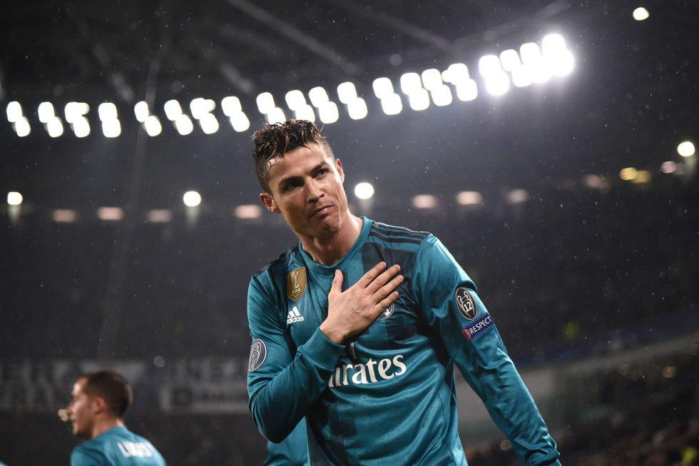Ronaldo celebra su segundo gol en la ida de los cuartos de final de la Champions frente a la Juventus, el 3 de abril de 2018.