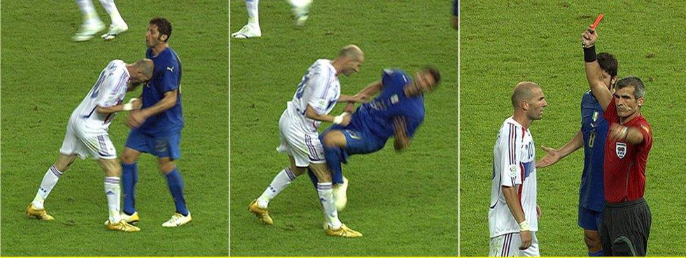 9 de julio de 2006. Zidane Zidane, el héroe de la final del Mundial de Francia 1998, se convertía en el villano en la de Alemania. El cabezazo al italiano Marco Materazzi le costó la tarjeta roja en la final en el estadio Olímpico de Berlín. Italia se impuso en los penaltis al término del partido que acabó con empate a uno, consiguiendo su cuarta Copa del Mundo.