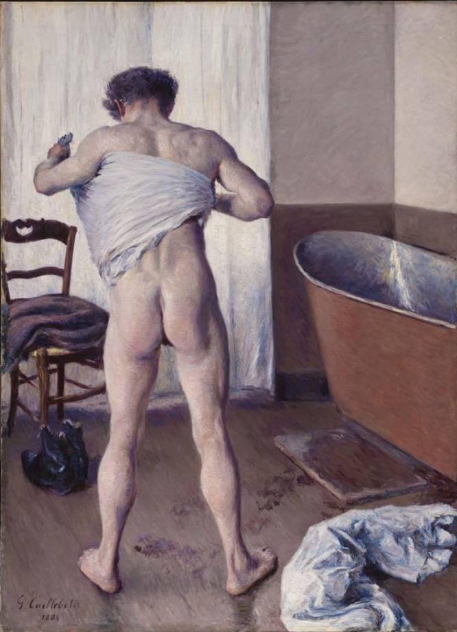 """¿Pero qué hace este hombre desnudo? El especialista en historia del arte Bruno Ruiz-Nicoli destaca la excepcionalidad de esta obra de Gustave Caillebotte (Francia, 1848-1894), realizada en un momento en el que por lo general se representaba a mujeres en este tipo de actitudes: """"Si la intimidad femenina ha sido representada en el arte como espacio erotizado desde el siglo XVIII, el aseo masculino se ha mantenido en un terreno marginal"""". ¿Por qué es tan bueno? """"Caillebotte burla el tabú con un gesto enérgico. La figura ha salido de la bañera dejando un rastro de humedad y seca con fuerza su espalda"""", analiza Ruiz-Nicoli. El vigor realista y la sensualidad del momento nos interpelan."""