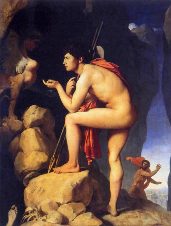 """¿Pero qué hace este hombre desnudo? """"Edipo se enfrenta desnudo a la Esfinge porque es un héroe y un hombre. Los esqueletos que le rodean muestran las consecuencias que provocaría un error al responder al acertijo. ¿Qué ser camina sobre cuatro patas, sobre dos y sobre tres? Edipo responde inclinando su torso hacia el monstruo en una afirmación de su propia identidad. Lo tienes ante ti, parece decir"""", explica Bruno Ruiz-Nicoli. ¿Por qué es tan bueno? Jean-Auguste-Dominique Ingres (Francia, 1780-1867) es uno de los pintores más excéntricos de la historia del arte. Clásico y anticlásico a la vez, modernísimo y arcaico, ha desconcertado a muchos historiadores. Sea como fuere, aquí nos fascina por la cualidad alabastrina de la piel del protagonista, que parece invitarnos a tocarla."""