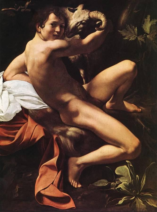 """¿Pero qué hace este hombre desnudo? Caravaggio (Italia, 1571-1610) revolucionó la pintura religiosa tomando como modelos a personas que encontraba en las calles, con lo que logró un extra de realismo que supuso un avance respecto a los modos manieristas inmediatamente anteriores. Y eso se transmite a los desnudos, incluidos los de personajes de los Evangelios. ¿Por qué es tan bueno? """"La carga homoerótica que transmite el joven que representa a San Juan Bautista radica en su realismo. El abrazo al carnero y el apoyo sobre la piel de cabra enfatizan la sensualidad de la composición en espiral"""", analiza Bruno Ruiz-Nicoli."""