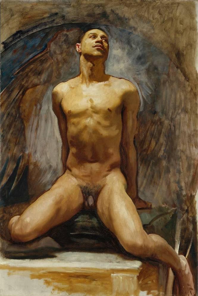 """¿Pero qué hace este hombre desnudo? Thomas E. McKeller era botones del Hotel Copley Plaza de Boston cuando conoció a John Singer Sargent (Italia, 1856-1925) en uno de sus ascensores en 1916. Y posó para él en varios estudios. Curiosamente, este retrato permaneció oculto hasta la muerte del artista. ¿Por qué es tan bueno? """"Combina su particular estilo 'grandeur' de retrato con un engañoso aspecto 'academia', y tanto el modelo como la pose resultan inquietantes: la frontalidad que expone el sexo de un afroamericano en 1920 es toda una declaración"""", explica el artista David Trullo."""
