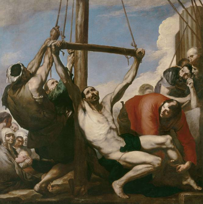 """¿Pero qué hace este hombre desnudo? De nuevo, el martirio masculino cristiano siempre lleva aparejada la desnudez, total o parcial. Y el maestro barroco José de Ribera (España, 1591- Italia, 1652) fue uno de quienes mejor representaron la piel humana, con su belleza y también sus imperfecciones. ¿Por qué es tan bueno? """"Es el Torso Belvedere, pero también tu vecino. Sufre pero baila. Y provoca tanto devoción como compasión y deseo. En directo este cuadro da escalofríos"""", explica el artista David Trullo."""