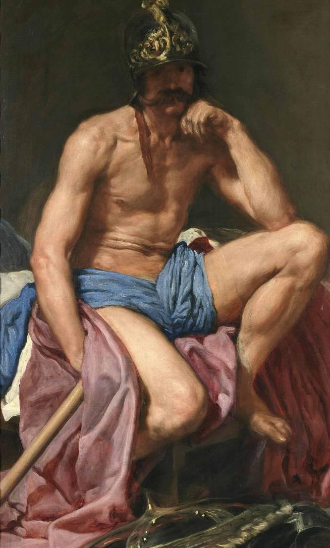 ¿Pero qué hace este hombre desnudo? En un contexto tan puritano (de puertas para afuera) como la España del Barroco, la mitología ofrecía una interesante coartada para representar cuerpos desnudos. Así que Velázquez (Sevilla, 1599-Madrid, 1660), el pintor real, representó al dios romano de la guerra para Felipe IV y la obra se integró, junto a otras de Rubens con motivos similares, en la decoración de uno de sus pabellones de caza. ¿Por qué es tan bueno? Parece ser que Velázquez utilizó como modelo a un veterano de guerra, y el realismo con el que lo retrató es lo que más llama la atención del cuadro. No se trata solo de la increíble autenticidad de la carne, sino de algo que va mucho más allá de lo que podría tocarse u olerse: la melancolía del personaje rompe con la clásica rigidez y la idealización con que se representaba a los dioses clásicos, y siglos después nos hace pensar irremediablemente en el ocaso de un imperio basado en el poder –ya herido de muerte– de las armas.