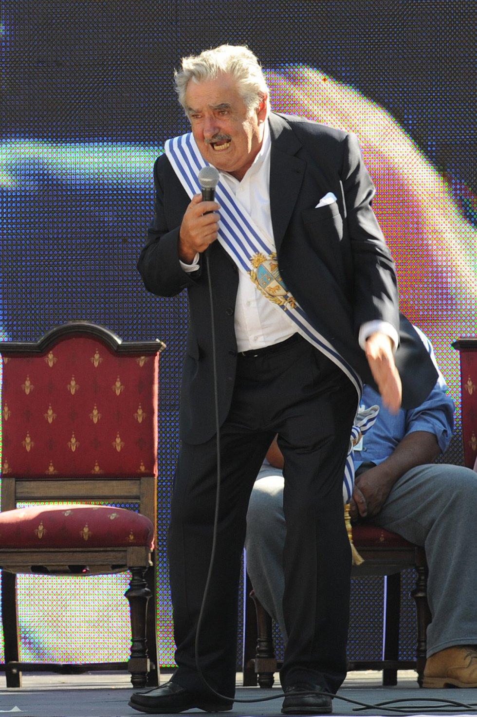Mujica durante su discurso en la toma de posesión del nuevo gobierno en Montevideo, el 1 de marzo de 2010.