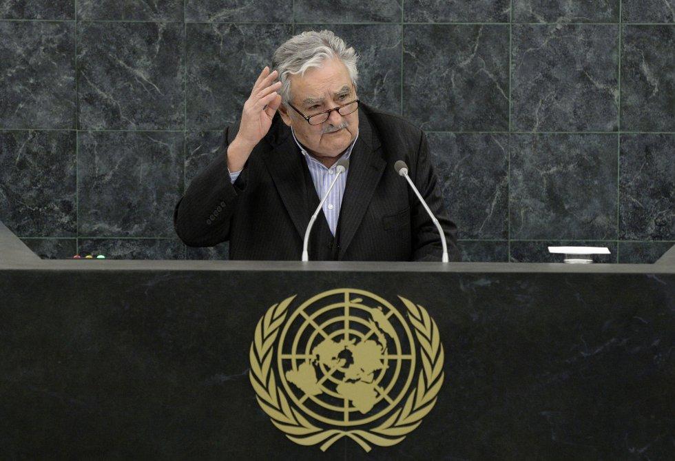 El presidente uruguayo José Mujica se dirige a la Asamblea General de la ONU, el 24 de septiembre de 2013, en la ciudad de Nueva York (EE UU).