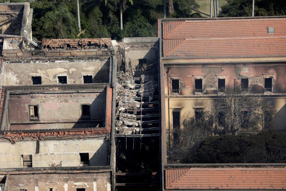 Vista aérea del Museo Nacional de Brasil tras el incendio.