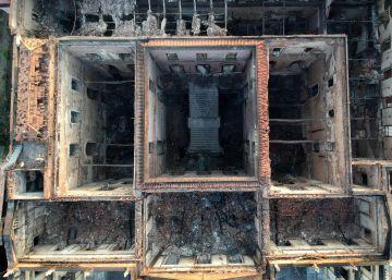 Así ha quedado el edificio tras el incendio en el Museo Nacional de Río de Janeiro