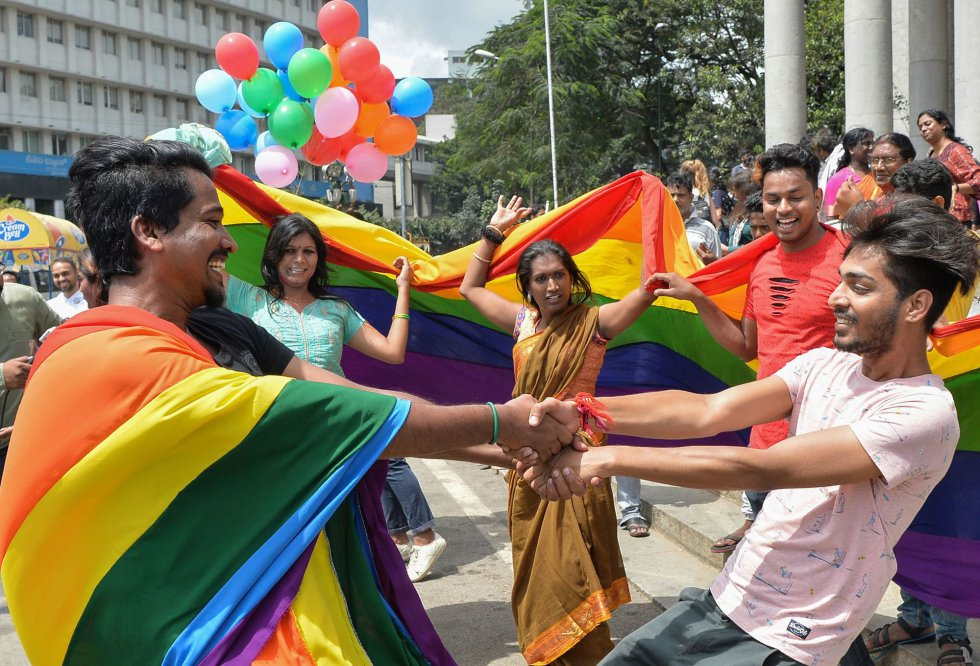 Celebrations for the decision of the Indian justice to decriminalize homosexuality in Bangalore (India).