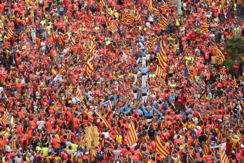 'Castell' formado durante la manifestación de la Diada en Barcelona.
