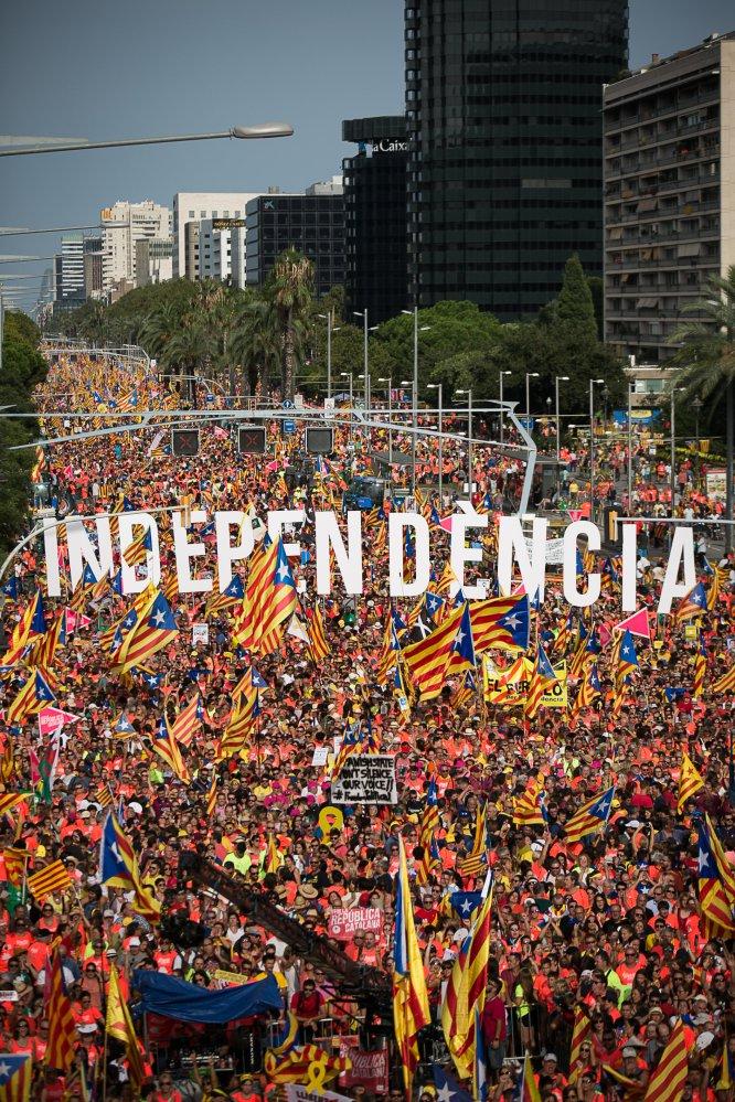 Vista general durante la manifestación independentista en Barcelona.