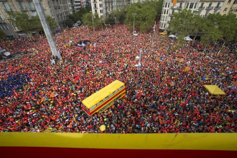 Vista de la plaza de Cinco de Oros durante la manifestación.