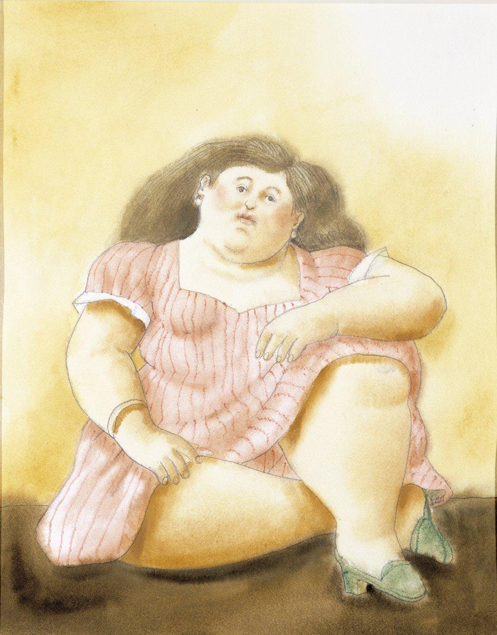 'Mulher sentada (1999)'. Aquarela sobre papel.