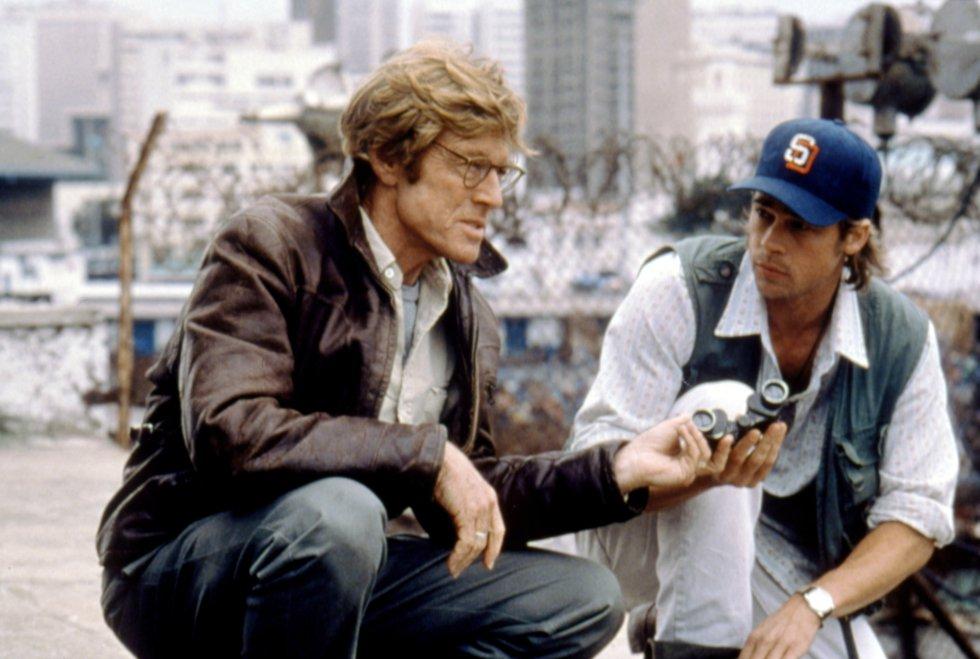 Robert Redford y Brad Pitt en el rodaje de 'Juego de Espías', en 2001.