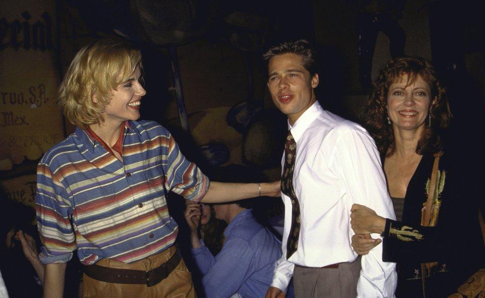 Geena Davis, Brad Pitt y Susan Sarandon, a principios de los años noventa.