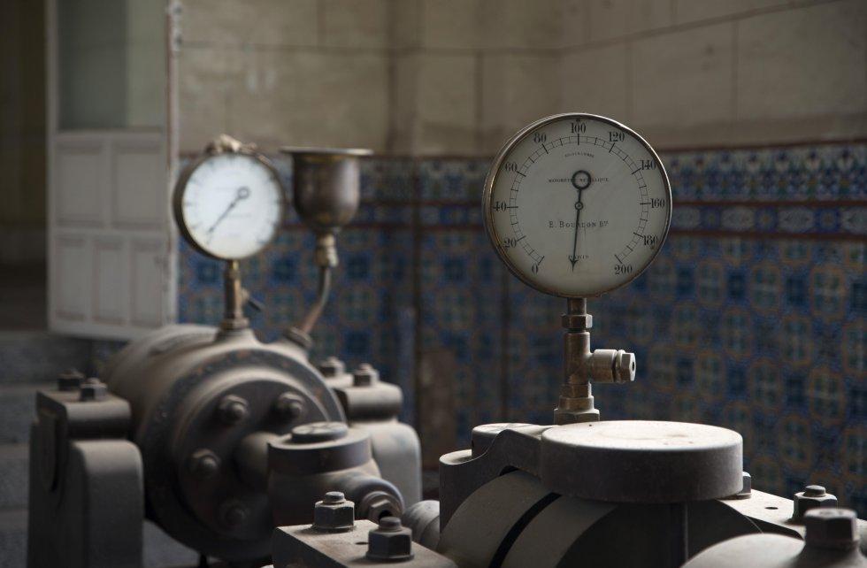 Una de las máquinas de vapor para barrenar cañones que quedan en la Real Fábrica de Artillería.