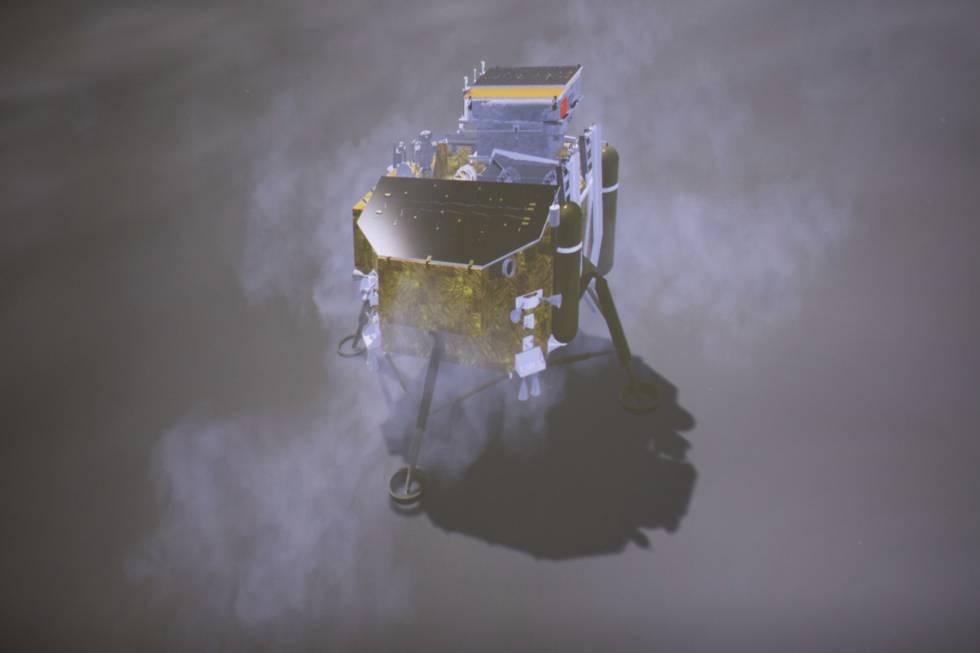 Desde entonces se buscó el momento idóneo para el aterrizaje, porque la parte no visible del astro tiene periodos de día y noche que duran unos 14 días terrestres y se necesitaba la luz solar para que tanto el módulo de alunizaje como el vehículo móvil de exploración funcionaran como estaba previsto. En la imagen, recreación de la nave 'Chang'e-4' en la Luna facilitada por el Centro de Ingeniería Espacial y Exploración Lunar de la Administración Nacional Espacial de China.