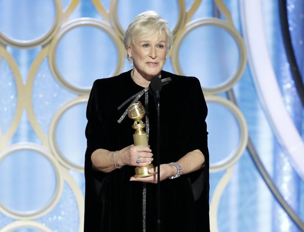 Glenn Close recoge el Globo de Oro a Mejor actriz dramática por 'La buena esposa'.