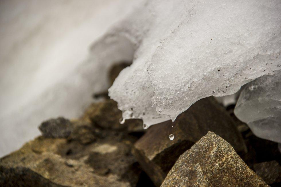 Una gota de agua se desprende del glaciar del Carihuairazo. En los últimos 60 años se ha derretido un 55% del área glaciar de Ecuador, según el Instituto Nacional de Meteorología e Hidrología. Este país cuenta actualmente con un total de 44,5 kilómetros cuadrados de superficie de hielo en las cumbres de sus volcanes. La subida de 1,1 grados centígrados en los termómetros globales respecto a la etapa preindustrial está teniendo unas consecuencias muy visibles en los Andes, una cordillera que alberga el 99% de los glaciares tropicales de la Tierra.