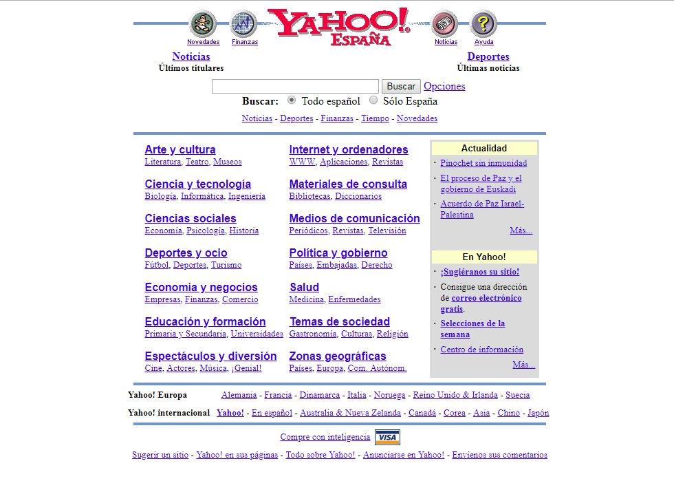 Fundado en enero de 1994, Yahoo fue uno de las grandes pioneros de la web. Con los años fue aglutinando servicios a medida que aparecían: portal, directorio de búsqueda, email, buscador. La compañía sobrevive pero nunca ha vuelto a los días de gloria de los inicios.