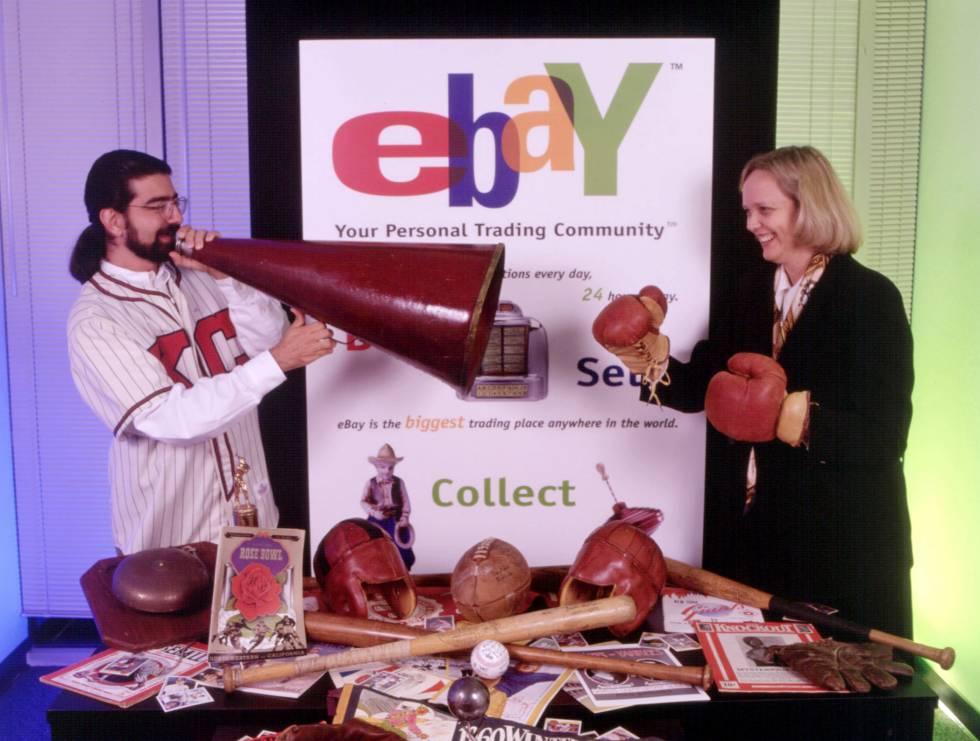 El fundador de eBay, Pierre Omidyar, y su primera CEO, Meg Whitman. Su planteamiento de vender bienes mediante subasta convirtió la plataforma en la primera gran web de intercambio comercial entre individuos.
