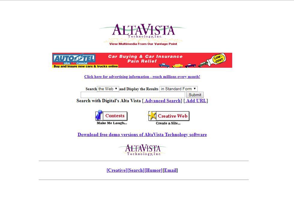 AltaVista es un buscador web pionero, creado en 1995. Es el precursor de Google, que se comió todo su espacio. En 2003 fue comprado por Yahoo, que lo cerró en 2013.