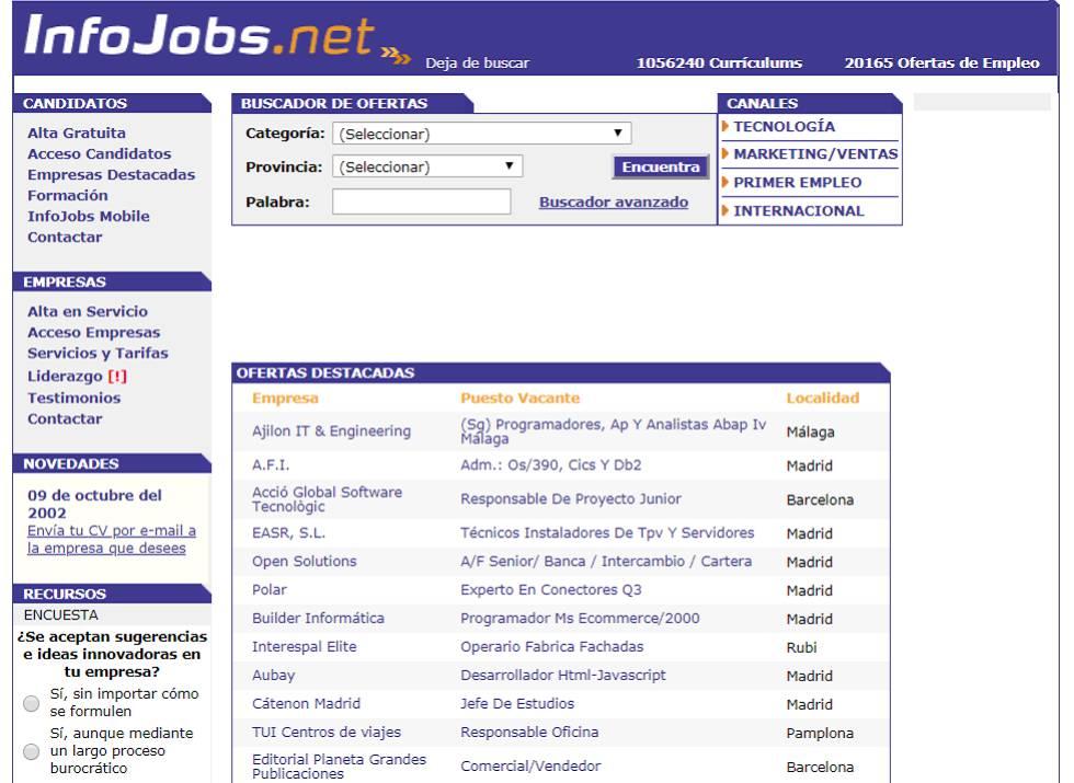 Desde su fundación en 1998, Infojobs ha sido la gran bolsa de trabajo de los españoles. Tiene unos 200 empleados y su propietario es un grupo noruego, Schibsted.