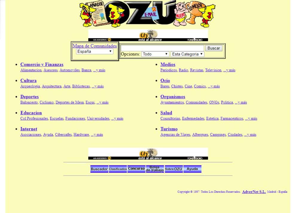 """En 1997 EL PAÍS describía Ozú como """"uno de los motores de búsqueda en Internet más populares de España"""". Nació poco después de Olé y dominaron el mercado español durante la segunda mitad de los 90. Sobrevivió hasta 2012."""