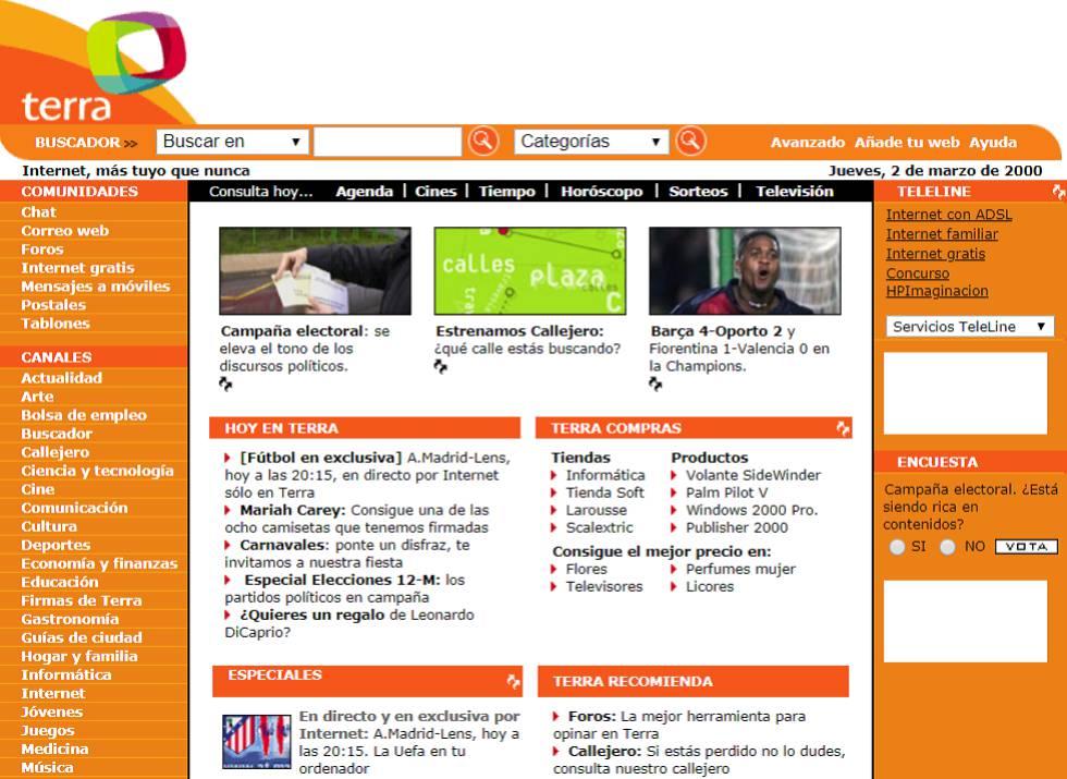 Terra fue el gran portal de internet para una generación de españoles. Fue creado por Telefónica en 1999 como una web que incluía lo más destacado de lo que entonces era internet. Cerró en 2017.