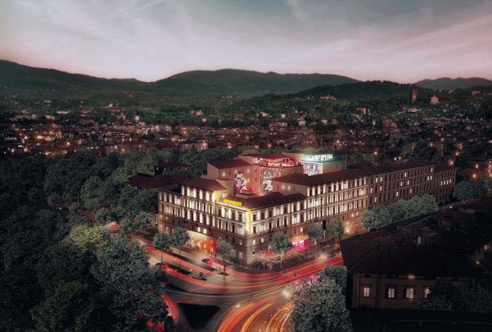 """O Student Hotel Florence Lavagnini é um 'palazzo' mas toma a forma de muitas outras coisas: é um hotel, é um espaço comercial e de restaurantes, é um ginásio, é um bar com uma piscina no telhado... Resumindo, é o que a 'Vanity Fair' definiu como """"o hotel do futuro""""."""