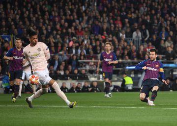 Dos goles de Messi en cuatro minutos ponen al Barcelona 2-0 ante el United