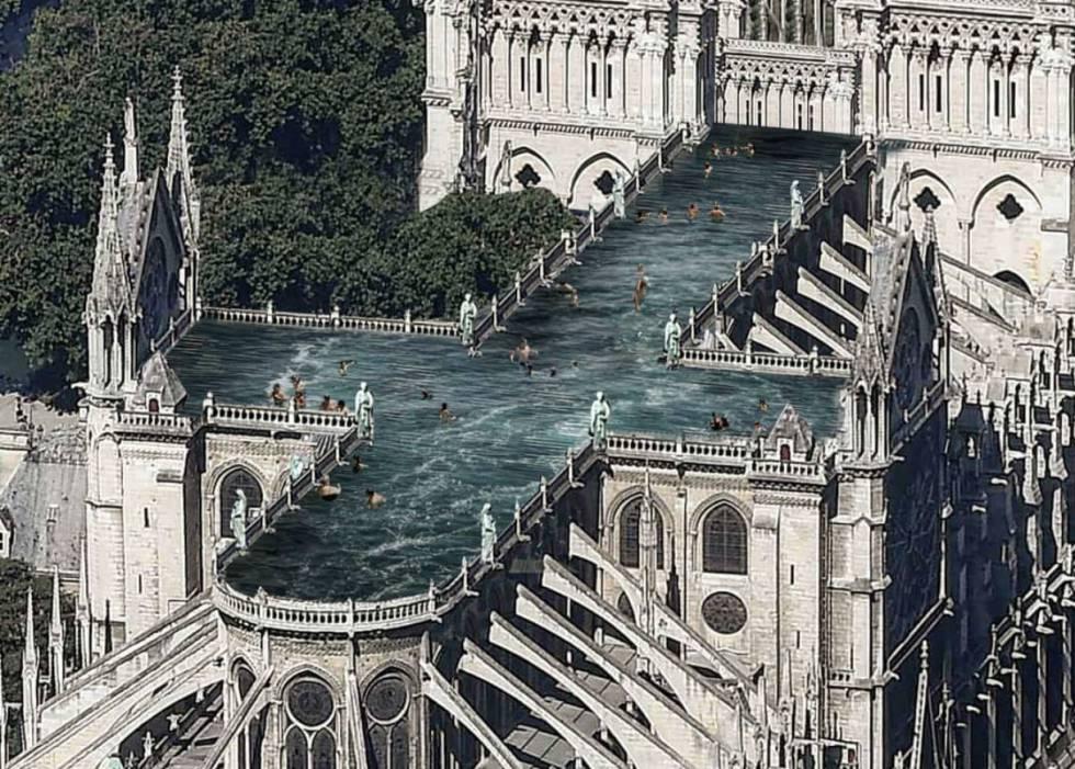 Dotar a la catedral de un uso complementario al del asombroso interior ha sido la decisión del estudio sueco Ulf Mejergren Architects. Para ello, proponen esta gran piscina concebida como un nuevo espacio público para la contemplación, que invitase a la meditación y la reflexión que desencadena un espacio como el de Notre Dame.